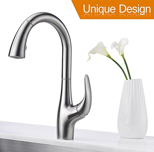 Purelux Calla Modern Design Single Handle Pull Down High Arc Kitchen Faucet fits 1 or 3 hole installation, Satin Stainless Finish Pull Out Sprayer Kitchen Sink Faucets - Handle Deck Mount Bar