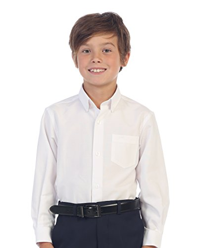 Gioberti Boy's Oxford Long Sleeve Dress Shirt, White, Size 6 -
