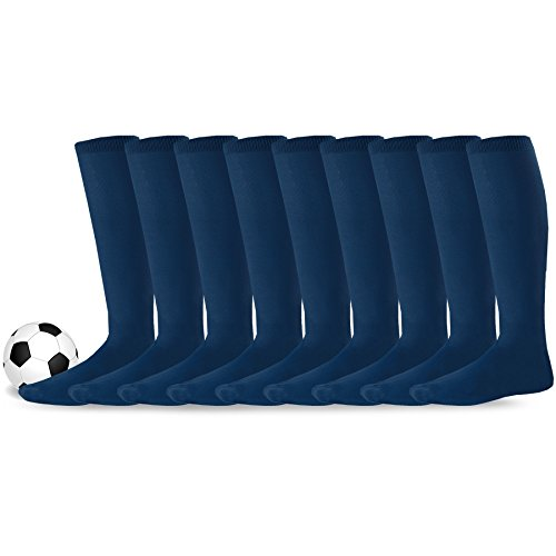 Navy Kids Football - Soxnet Acrylic Unisex Soccer Sports Team Cushion Socks 9 Pack (Youth (5-7), Navy)