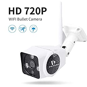 Wireless WiFi Security Camera, Full HD 720P WiFi Wireless IP Security Surveillance Bullet Camera with Pripaso IR Night Vision Outdoor IP66 Weatherproof, Motion Detection and Push Alerts by Pripaso