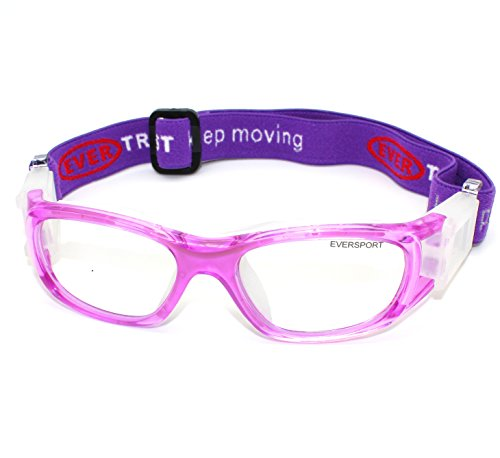EVERSPORT-Girls-Kids-Sports-Goggles-Safety-Protective-Basketball-Glasses-for-Children-with-Adjustable-Strap-for-Basketball-Football-Volleyball-Hockey-RugbyColorPurple