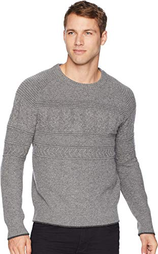 (Obermeyer Men's Textured Crew Neck Sweater Zinc Grey Small)