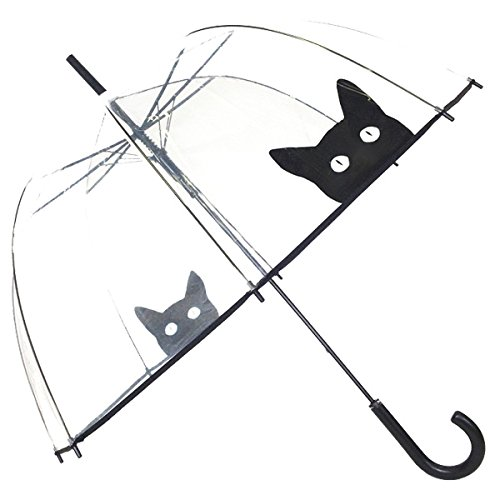 Susino Cat Dome Umbrella-Paraguas Mujer, White (Clear) (Transparente) -