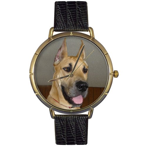 Great Dane Whimsical Watches Women's N0130080 Black Leather And Goldtone Photo Watch