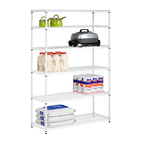 Honey-Can-Do SHF-01910 Adjustable Storage Shelving Unit, 600-Pounds Per Shelf, White, 6-Tier, 48Lx18Wx72H