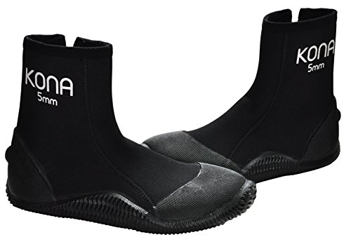 KONA 5mm Premium Double-Lined Neoprene Scuba Diving Boots with Vulcanized Grip Technology (Mens 8 / Womens 9)