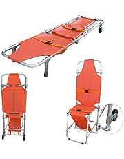 GLJY Camilla de Rescate de Emergencia Camilla Plegable de Aluminio Camilla Ambulancia Silla de Escalera de evacuación para Bomberos con 2 Ruedas guía Fácil de transferir en el Suelo