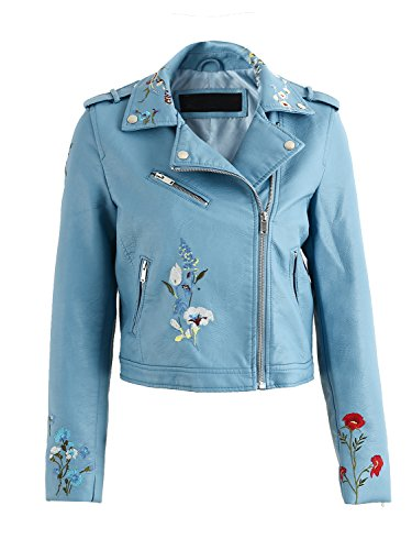 Simplee Women's Floral Embroidery PU Faux Leather Short Motorcycle Jacket Zipper (8, Blue)