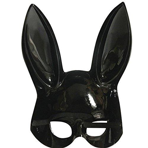 Hemlock Women Rabbit Masks Easter Party Masks Rabbit Ears Masks Bright Easter Party Rabbit Ears Mask Half Face Masks Nightclub Bar Masquerade (Black, 18X38CM)