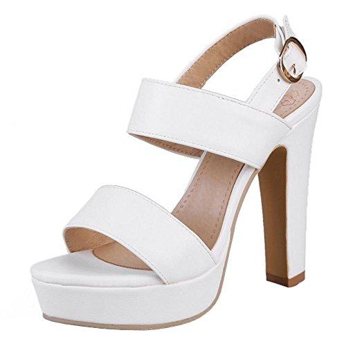 RAZAMAZA Mujer Moda Correa Tacon Ancho Sandalias Plataforma Hebilla Zapatos Blanco