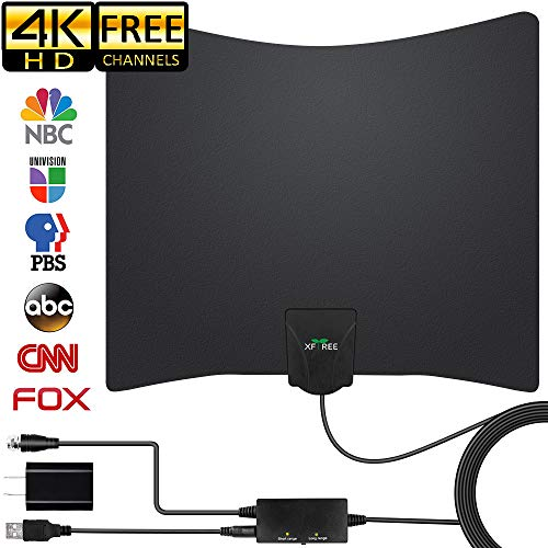 HDTV Antenna, 2019 Newest Digital Indoor TV Antennas, 130 Miles Range with Amplifier TV Signal Booster for 1080P 4K Free Channels Support All TV's with 16.5ft Longer Coax Cable