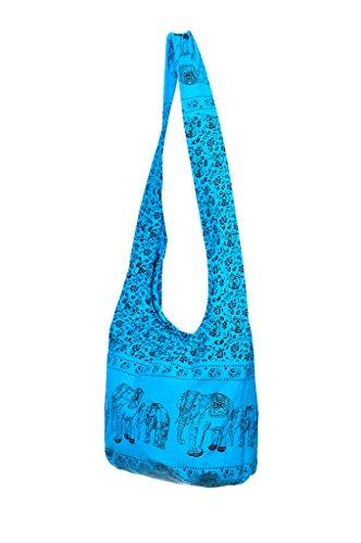 Elephant Sling Bag Bohemian Bag Print Cotton Avarada Shoulder Hobo Hippie Blue 1Wx4fAzwqF