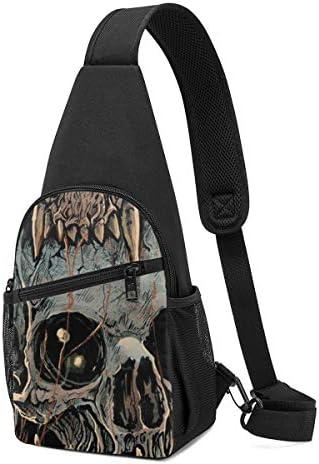 ボディ肩掛け 斜め掛け 頭蓋骨 スカル ショルダーバッグ ワンショルダーバッグ メンズ 軽量 大容量 多機能レジャーバックパック