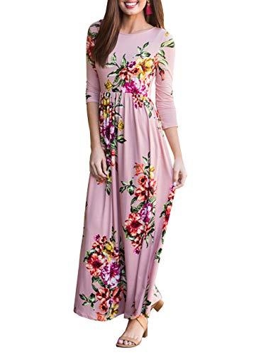 DUNEA Women's Maxi Dress Floral Printed Autumn 3/4 Sleeve Casual Tunic Long Maxi Dress (X-Large, Pink2) -