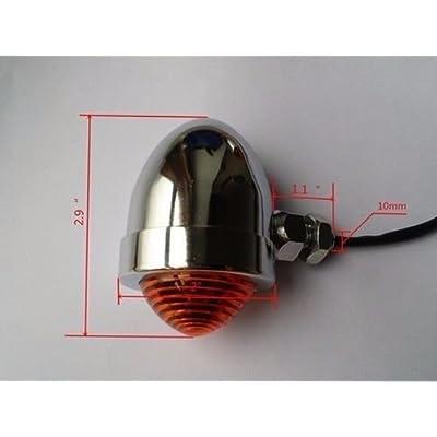 Motorcycle Turn Signals Indicator Light Lamp + Fork Clamps Cruiser Old School Bobber Cafe Racer Vintage Retro Clubman Rat Bike (Chrome/Amber): Automotive