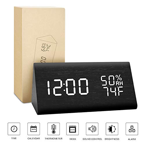 BlaCOG Alarm Clock Display Time Date Temperature,Wooden Alarm Clock for Bedroom,Digital clock Adjustable Brightness Voice Control-Black/White