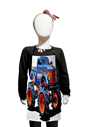 Lunarable Man Cave Kids Apron, Cartoon Monster Truck with Huge Tyres Off-Road Heavy Large Tractor Wheels Turbo, Boys Girls Apron Bib with Adjustable Ties for Cooking Baking and Painting, -