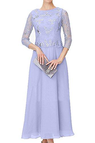 Damen Herrlich Abendkleider Ballkleider Blau Braut mia Abschlussballkleider Steine La Festlichkleider mit Spitze Lilac Langarm Promkleider q1Efvww