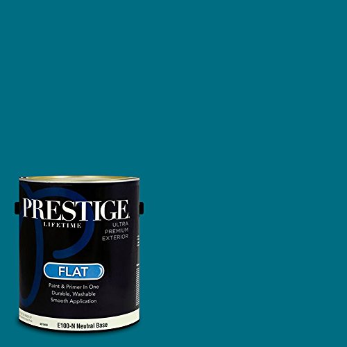 Prestige Paints E100-N-MQ4-54 Exterior Paint and Primer in One, 1-Gallon, Flat, Comparable Match of Behr Coastal Jetty, 1 Gallon, B24-Coastal