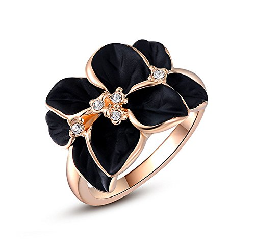 Acefeel Rose Gold Plated AAA Zircon Crystal Luxurious Black Enamel Flower Design Cocktail Ring (Ring Flower Enamel)