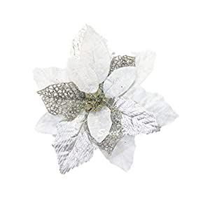"Sweet Home Deco 9""W Silk Shinning Sprakled Poinsettia Artificial Flower Heads (Set of 5) Christmas Decorations (White)"