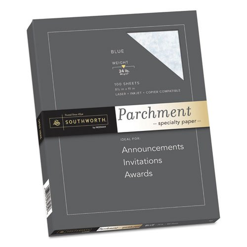 Southworth® Colors + Textures Collection® Fine Parchment Paper PAPER,PARCHMENT24#BLUE,BE (Pack of8) (Colors Textures Collection Parchment)