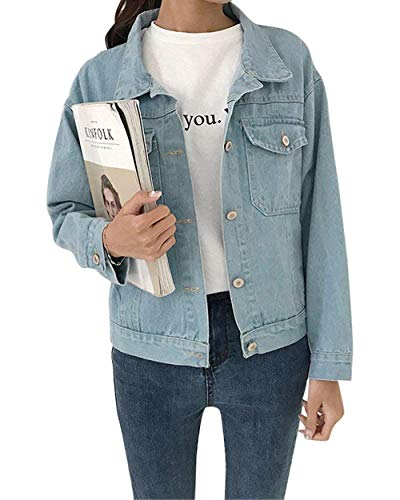 Giaccone Di Bavero Pingrog Qualità Donne Jeans Autunno Manica Giubbino Casuale Lunga Outerwear Breasted Single Hellblau Anteriori Tasche Confortevole Alta Giacche qTSOfw