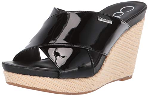 - Calvin Klein Women's JACOLYN Wedge Sandal Black Patent 6.5 M US