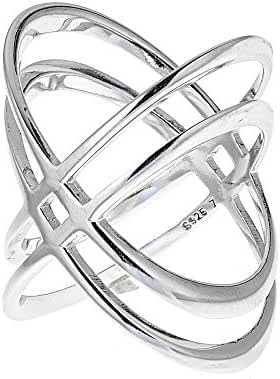 925 Sterling Silver Double 'X' Criss Cross Ring, For Women And Girls Size 6'' 7'' 8'' 9''