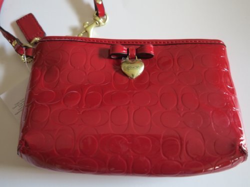 Coach Peyton Embossed Patent Leather Medium Wristlet Red by Coach