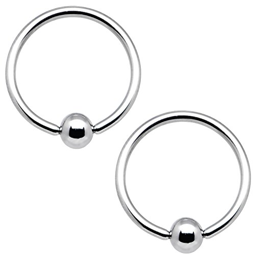 BodyJ4You 2PC Ball Closure Ring Stainless Steel 18G BCR 11mm Tragus Conch Septum Nose Nipple Piercing
