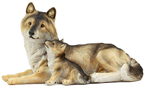 """Atlantic Collectibles Alpha Gray Wolf Family Figurine 9.75""""L Timber Wolf Mother Resting With Pups Sculpture"""