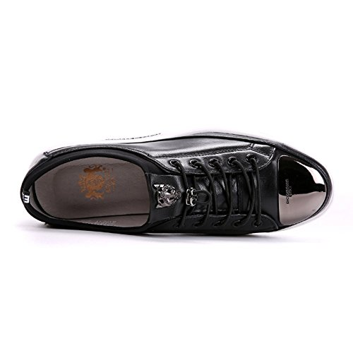 Sneakers Shoes Breathable Plate Leather Metal Santimon Black Fashion Men's HUgPX