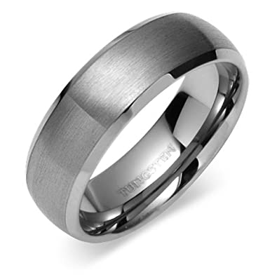 Revoni Classy 8mm Dome Style Comfort Fit Mens Tungsten Carbide Wedding Band Ring rGGqygoXqe