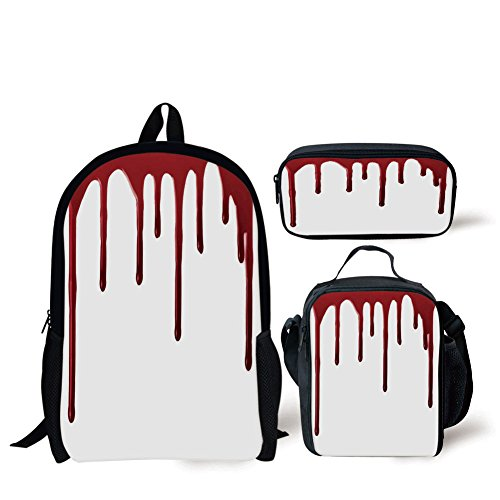 School Lunch Pen Bags,Horror,Flowing Blood Horror Spooky Halloween Zombie Crime Scary Help me Themed Illustration,Red White,Personalized Print