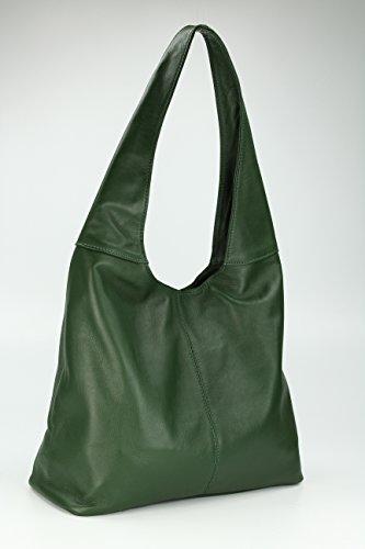 Belli Italiana. Piel–Bolso de mano Modena Mujer Piel Bolso–Selección de Colores–37x 30x 13(B X H X T) Verde