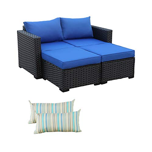 3-Piece Patio PE Rattan Conversation Furniture Set Outdoor PE Wicker Sectional Loveseat and Ottoman Sofa Set, Royal Blue Cushion/Black Wicker