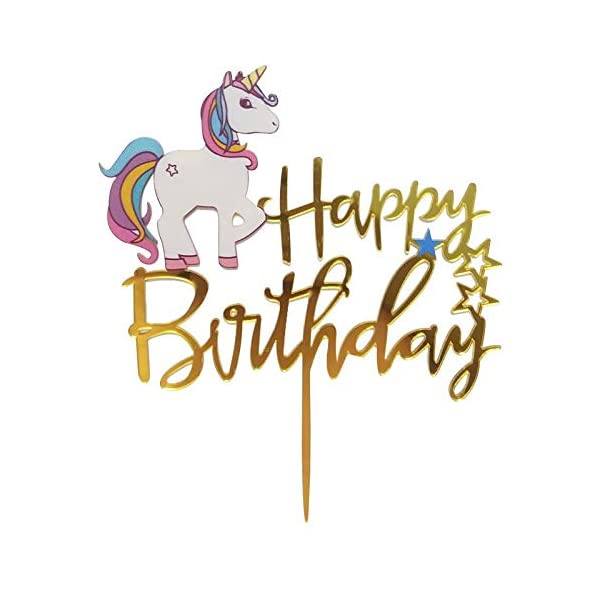 Matt Time Unicorn Happy Birthday Cake Topper Glitter for Kids Boys Girls Party Decorations Gold Acrylic 6