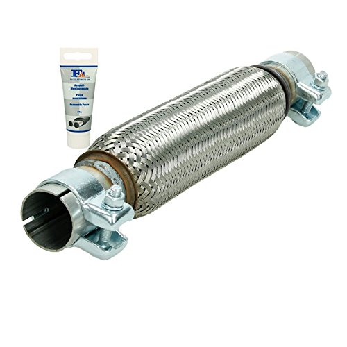 assembly without welding made of stainless steel ECD Germany Flex-007 Universal flexible tube with 2 clamps 45 x 150 mm flexible tube exhaust paste 60g paste interlock