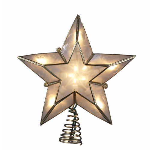 Kurt Adler 10-Light 5-Point Capiz Star Christmas Treetop, Ivory an Deal (Large Image)