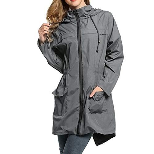 Femme Manteau  Capuche,Poids Lgers Voyage Raincoat Impermable Coupe-Vent Randonne Veste Bringbring Gris