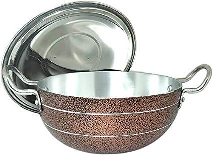 Buy JPS Brown Aluminium Cooking Kadhai with Lid 1 5 Litre