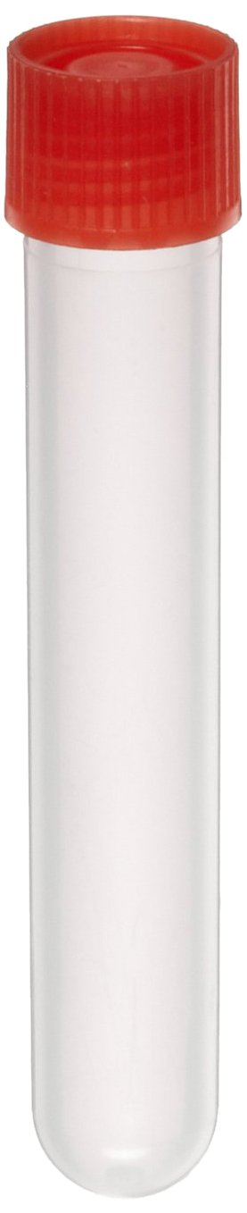 Kartell 299334-000R LDPE Round 15mL Leakproof Test Tube with Screwcap, Red Cap (Pack of 100) Thomas Scientific