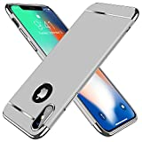 TORRAS [Lock Series] iPhone X Case/iPhone Xs Case, Thin 3 in 1 Hybrid Hard Plastic Case Anti-Scratch Matte Finish Slim Cover Case Compatible with iPhone X/XS 5.8' - Silver