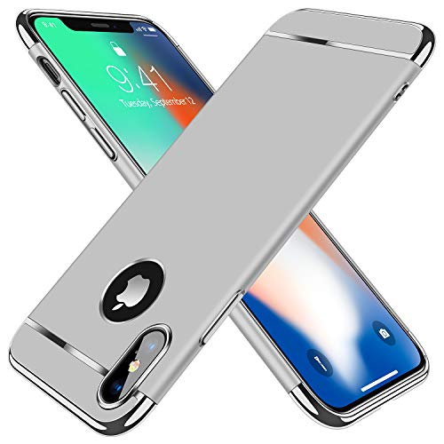 "TORRAS [Lock Series] iPhone X Case/iPhone Xs Case, Thin 3 in 1 Hybrid Hard Plastic Matte Finish Slim Cover Anti-Scratch Phone Case for iPhone Xs/X 5.8"", Silver"