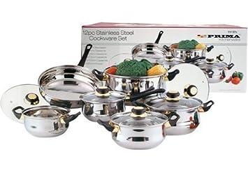 Dove Mill Kitchen - Batería de cocina (incluye sartenes y cazuelas, con tapa, acero, 12 piezas): Amazon.es: Hogar