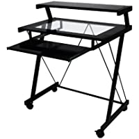 Home Source Demaryius Black Metal Computer Cart with Glass Shelves