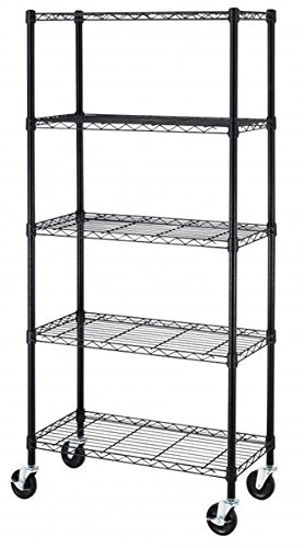 """Review 36""""x14""""x78"""" Black 5-Tier Standing Shelf Adjustable Steel Wire Metal Shelving By ITBrothers by ITBrothers"""