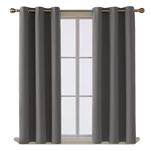 Deconovo Room Darkening Thermal Insulated Blackout Grommet Window Curtain for Living Room, Light Grey,42x63-inch,1 Panel ()