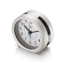 HopingFire Non Ticking Analog Alarm Clock with Nightlight and Snooze/Music Sound Alarm/Simple to Set Clocks, Battery Powered, Small (Black)